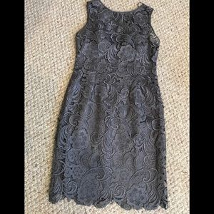 Charcoal Gray Lace Adriana Papell Dress